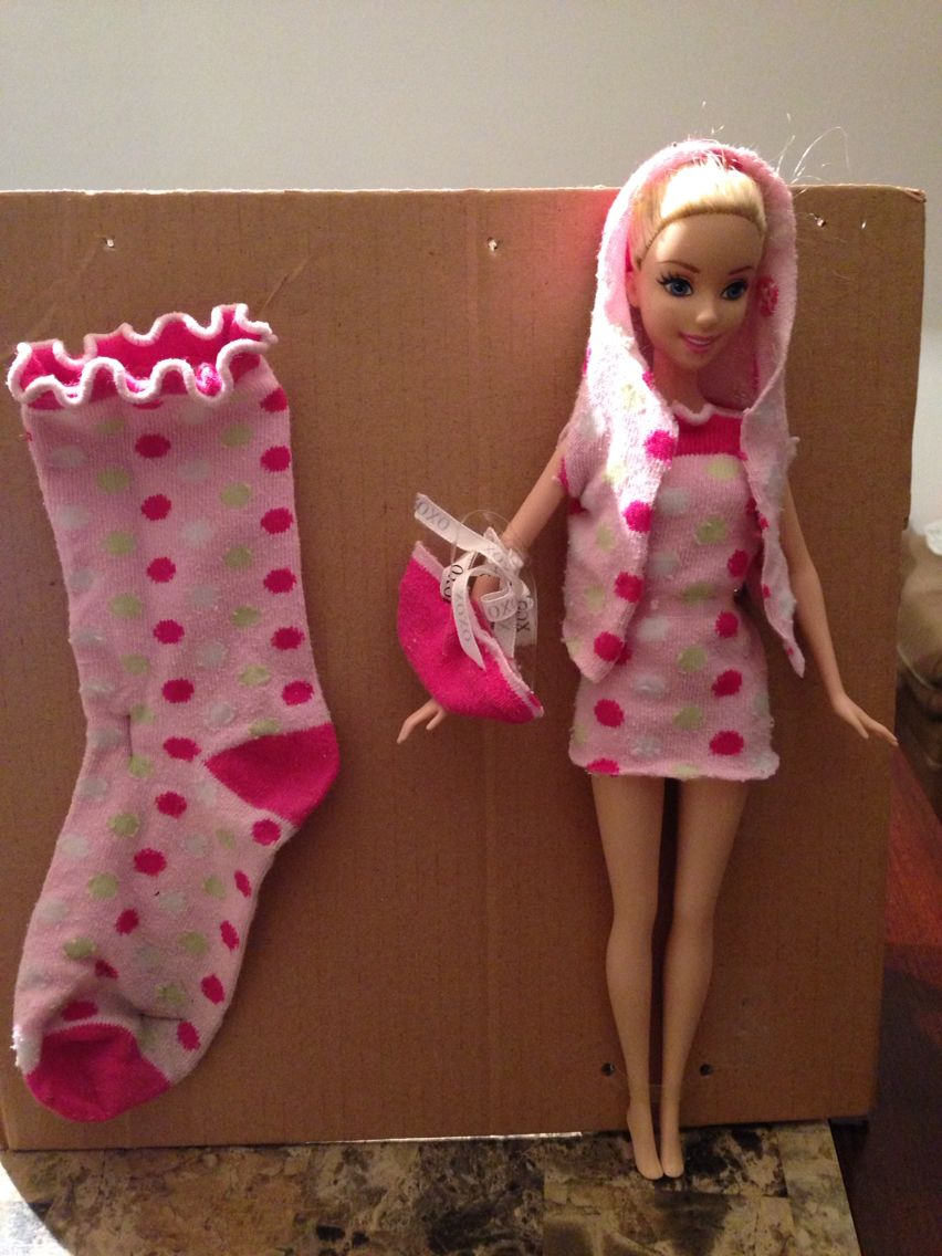 Barbie clothes made from old socks Diy barbie clothes