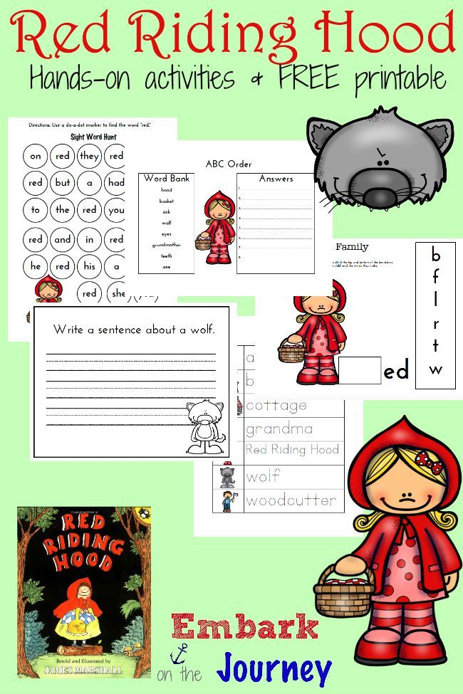 Little Red Riding Hood Printables and Activities  Red riding hood