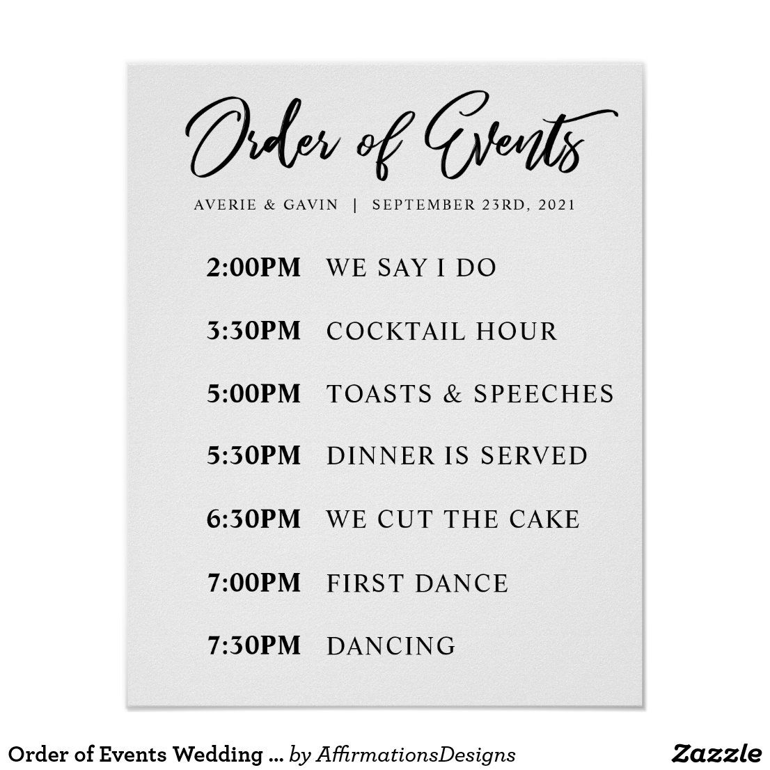 Order Of Events Wedding Day Schedule Poster Zazzle Com In 2020 Wedding Day Schedule Wedding Reception Schedule Wedding Reception Timeline