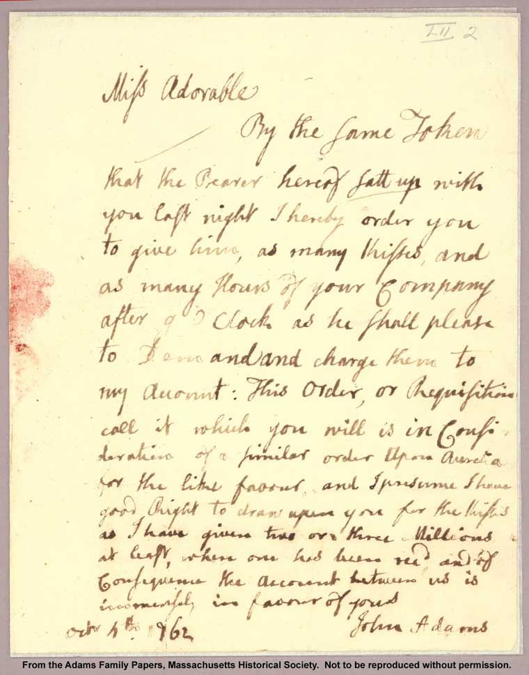 Letter from John Adams to Abigail addressed to
