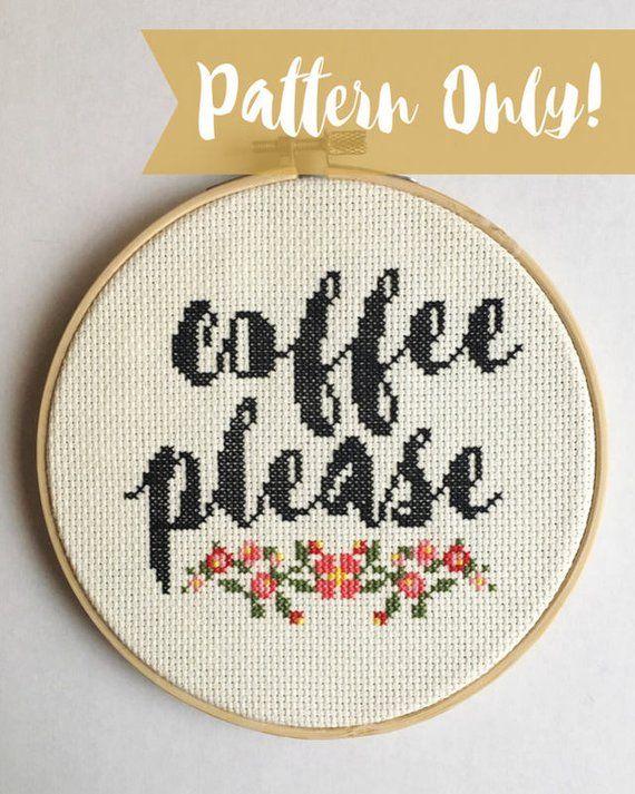Photo of Coffee Please Cross Stitch Pattern, Coffee Lover Cross Stitch, Floral Cross Stitch, Flower Cross Stitch, Floral Coffee, Coffee Cross Stitch