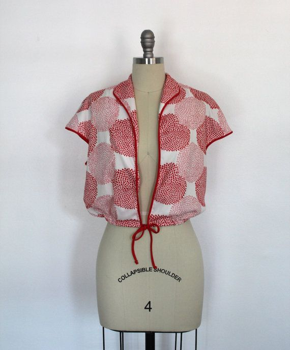 Vintage Blouse / Red & White Zinnia Print / from ThisBlueBird