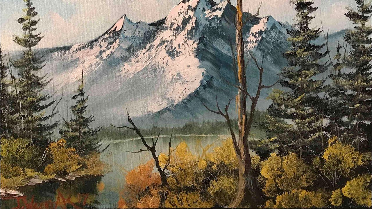 Paintings By Justin Misty Mountain Youtube Landscape Paintings Acrylic Nature Paintings Acrylic Landscape Paintings