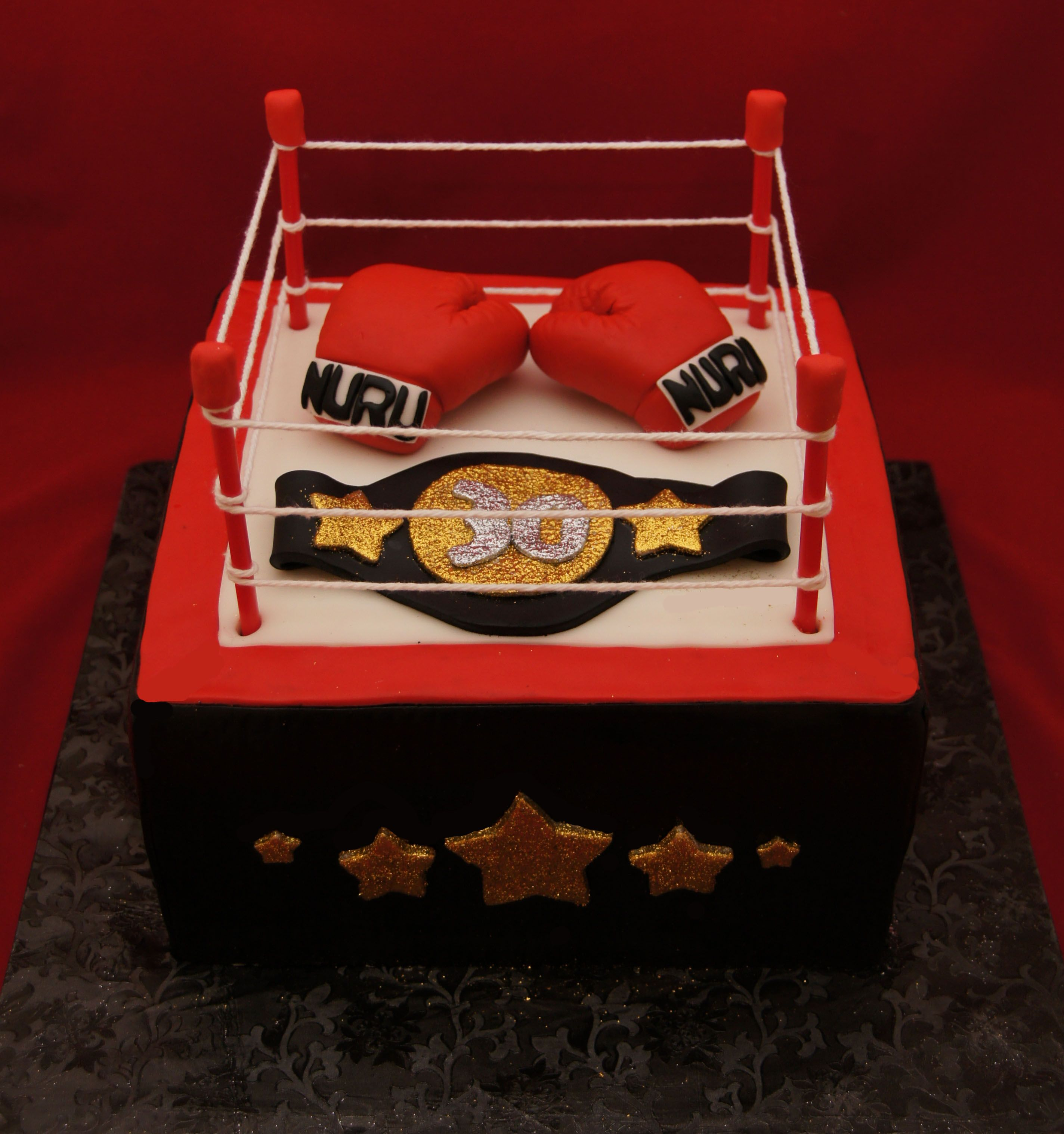 Awesome Boxing Ring And Boxing Glove Cake Bokshandschoenen Birthday Cards Printable Inklcafe Filternl