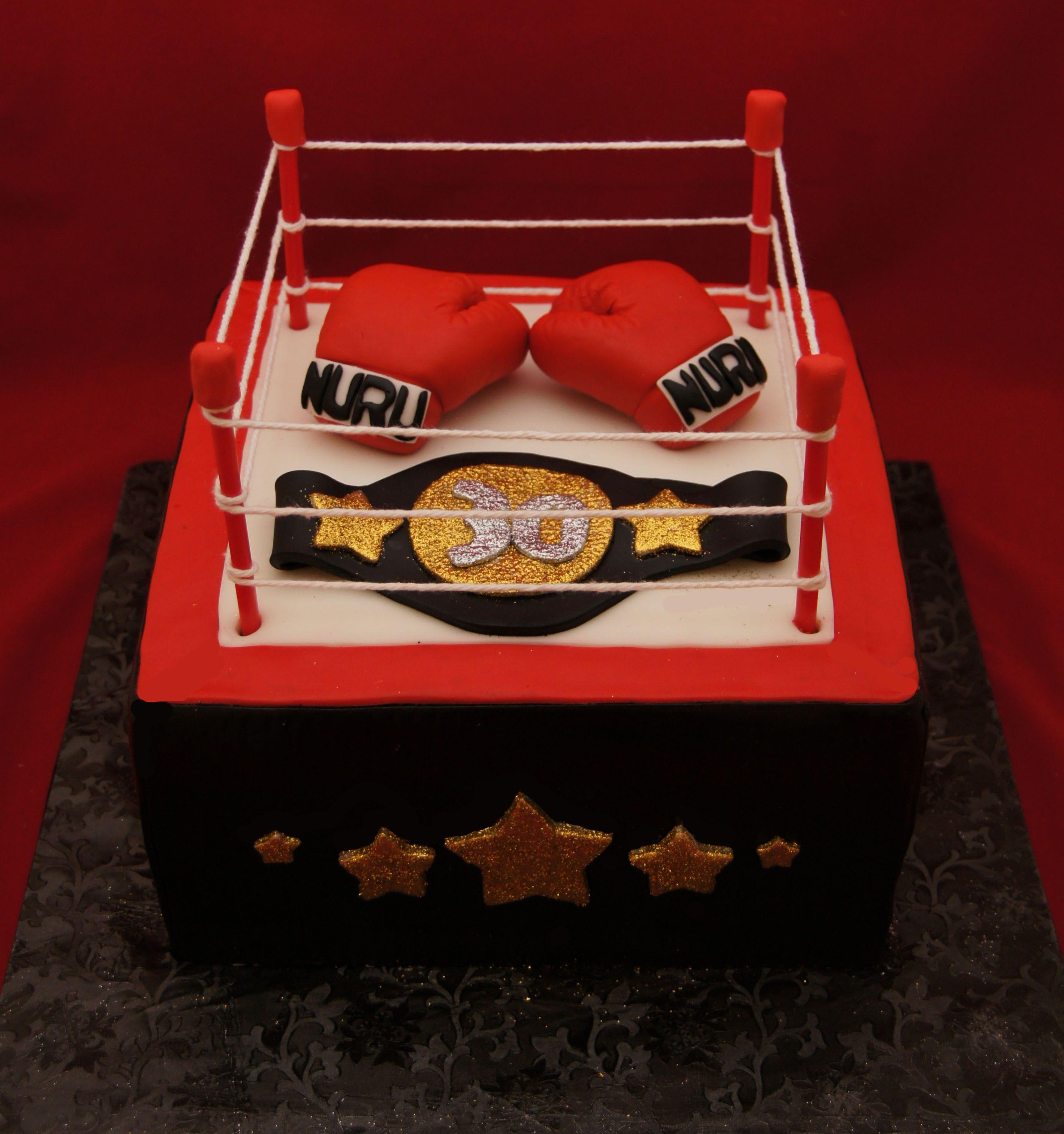 Super Boxing Ring And Boxing Glove Cake Bokshandschoenen Funny Birthday Cards Online Alyptdamsfinfo