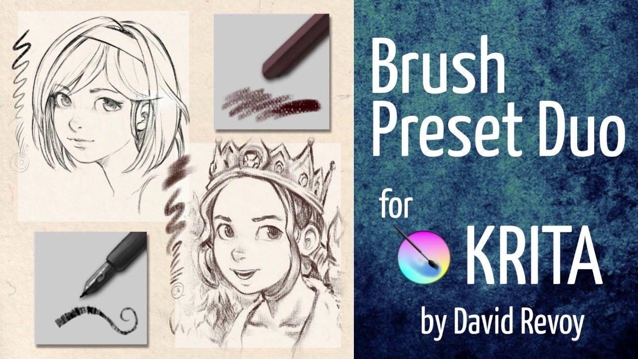 Brush Preset Duo Free Bundle For Krita Youtube In 2020 Paint
