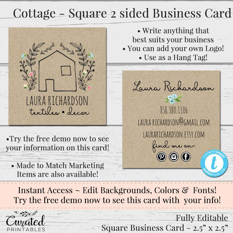 Cottage Square Business Card Editable Business Card Square