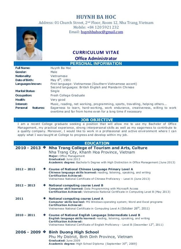 Simple Resume Sample For Job resume Pinterest Sample resume - resume out of college