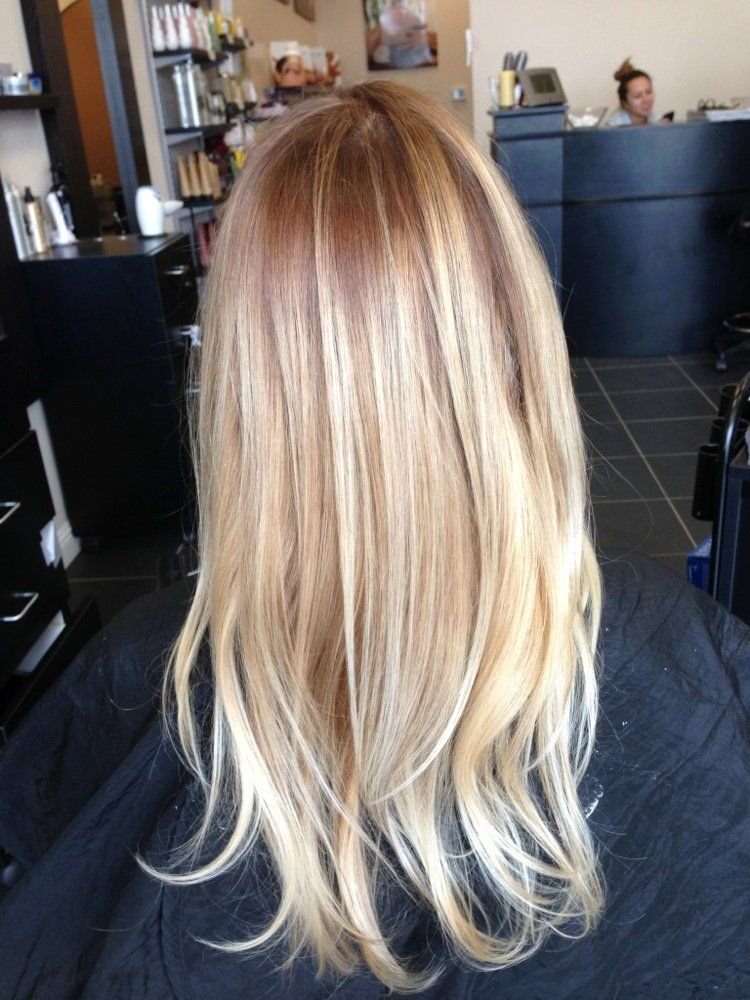 Love Doing Natural Blonds Darken The Roots And Painted Some Balayage Highlights Yelp Honey Hair Blonde Hair Natural Roots Hair