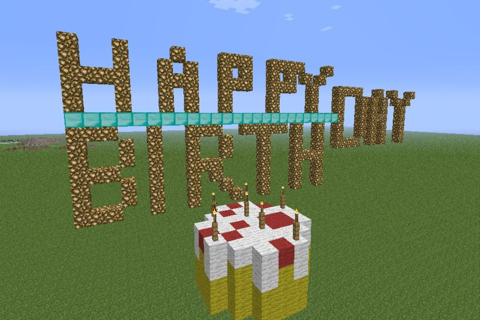 Открытка с майнкрафт на день рождения, днем