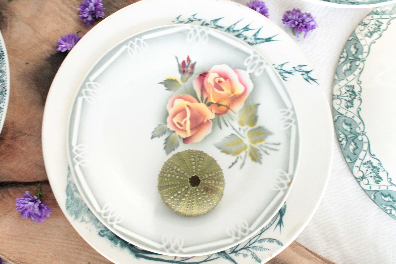 service de 12 assiettes dessert ad le digoin sarreguemines france vaisselle ancienne. Black Bedroom Furniture Sets. Home Design Ideas