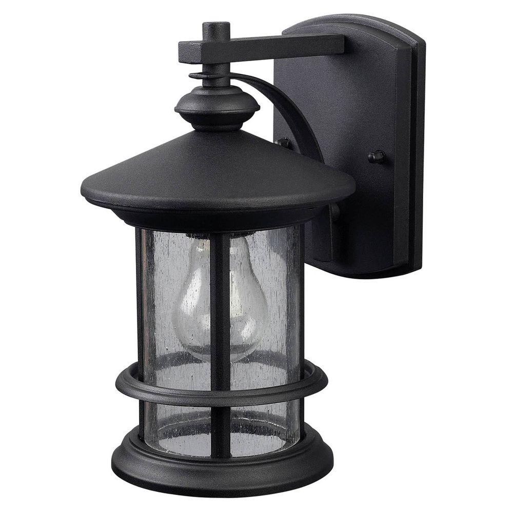 Canarm Ryder 1 Light Black Outdoor Wall Lantern Sconce With Seeded Glass Iol152bk Hd The Home Depot In 2020 Outdoor Wall Lantern Outdoor Wall Lighting Wall Lantern