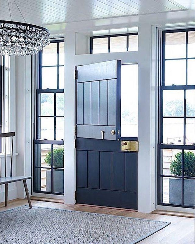 Gentil RIM LOCK | COBALT LACQUERED DUTCH DOOR | FRAMED IN STEEL WINDOWS