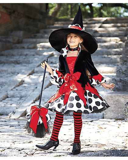 polka dot witch girls costume, this is adorable