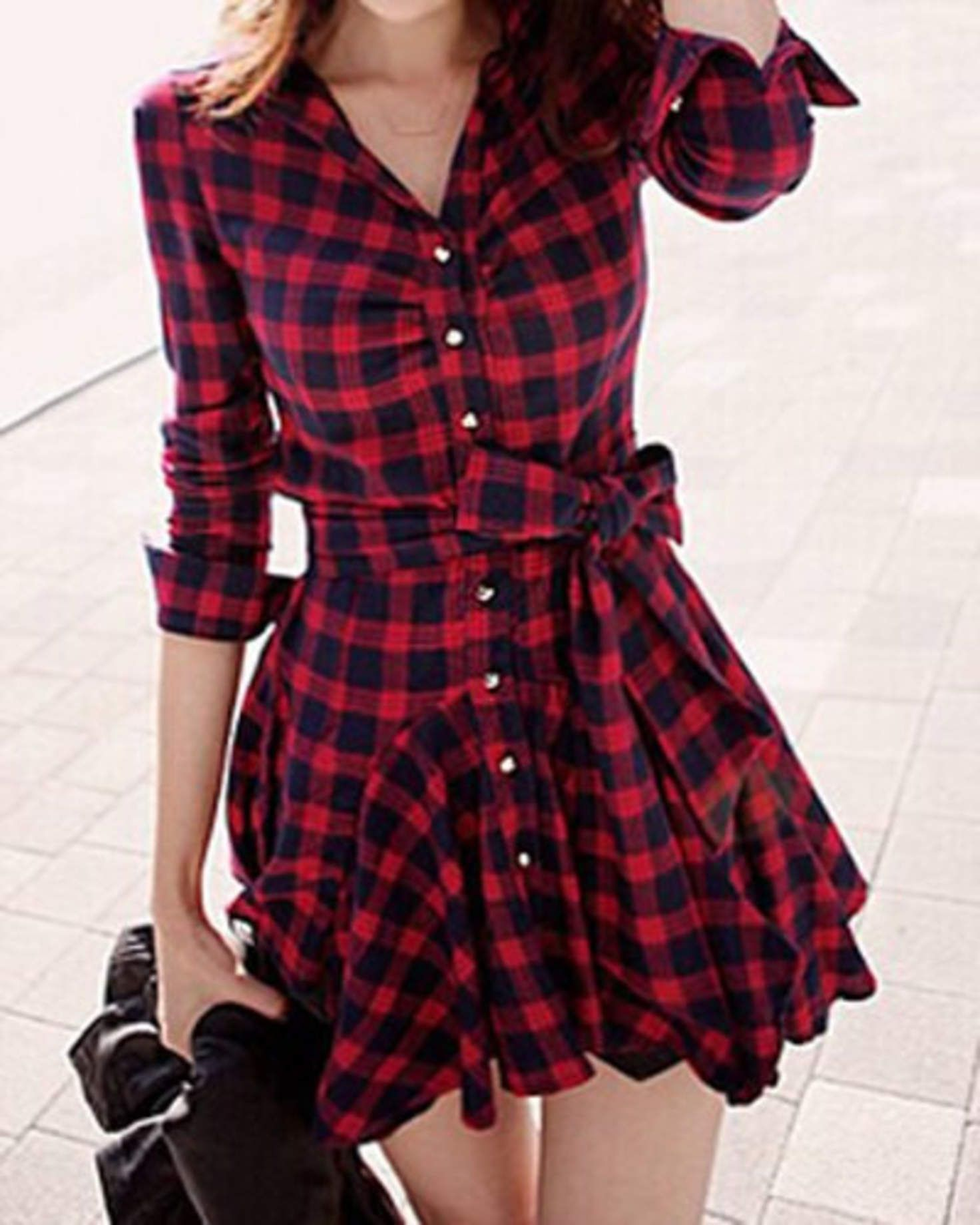 Red flannel around waist  Red Plaid Long Sleeve ButtonUp Dress with Belt  kore dizi
