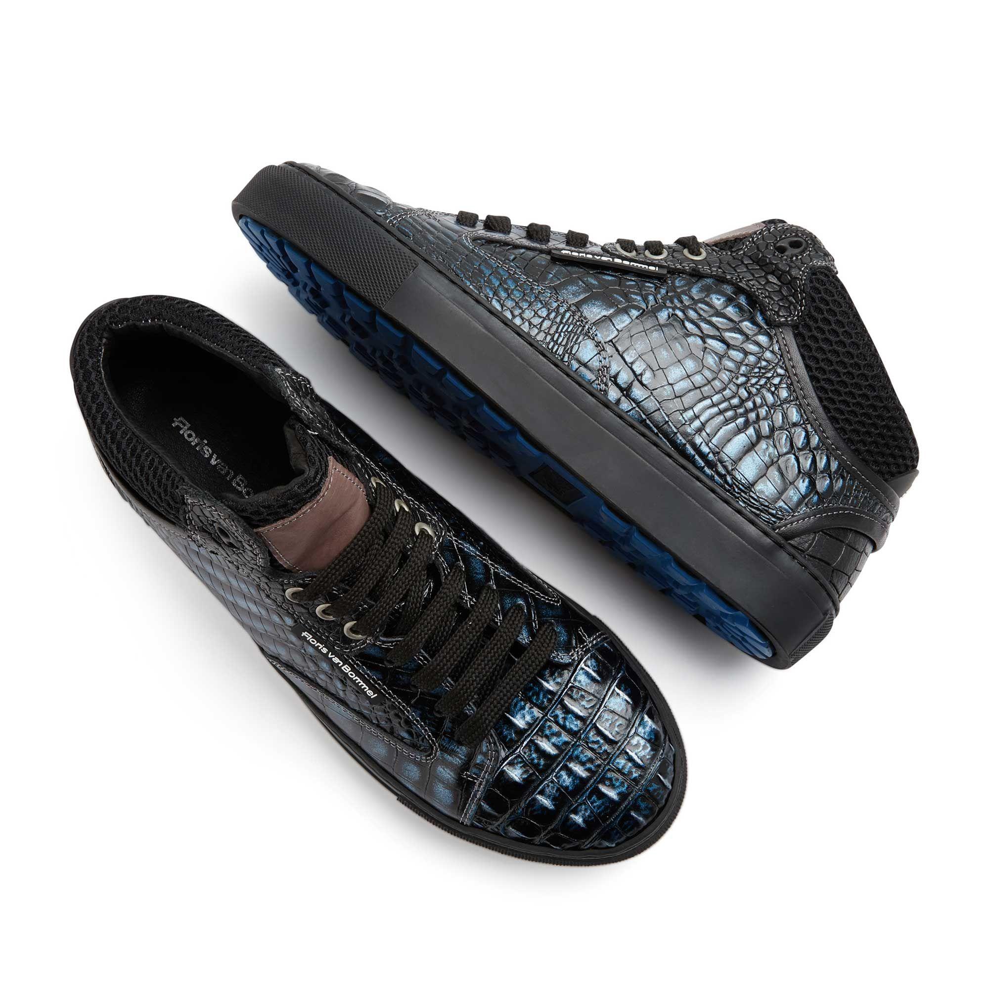 10864 02 Floris Van Bommel Blue Metallic Men S Sneaker With Crocodile Print