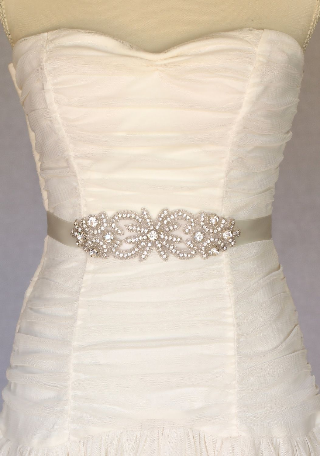 Beaded Ribbon Belt For Wedding Dress