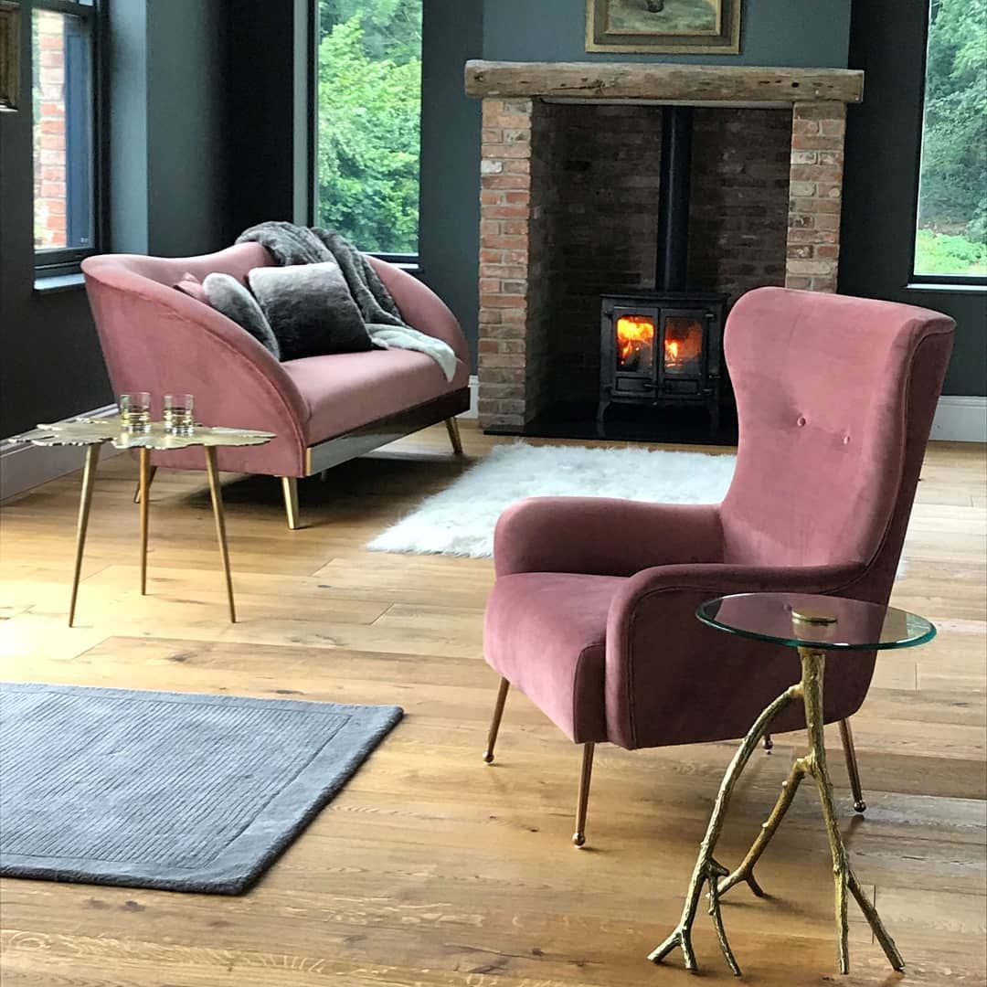 Blush pink claridge armchair with rose gold legs from my