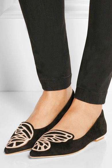 Bibi Butterfly Embroidered Suede Point-toe Flats - Black Sophia Webster RYfMjgHi