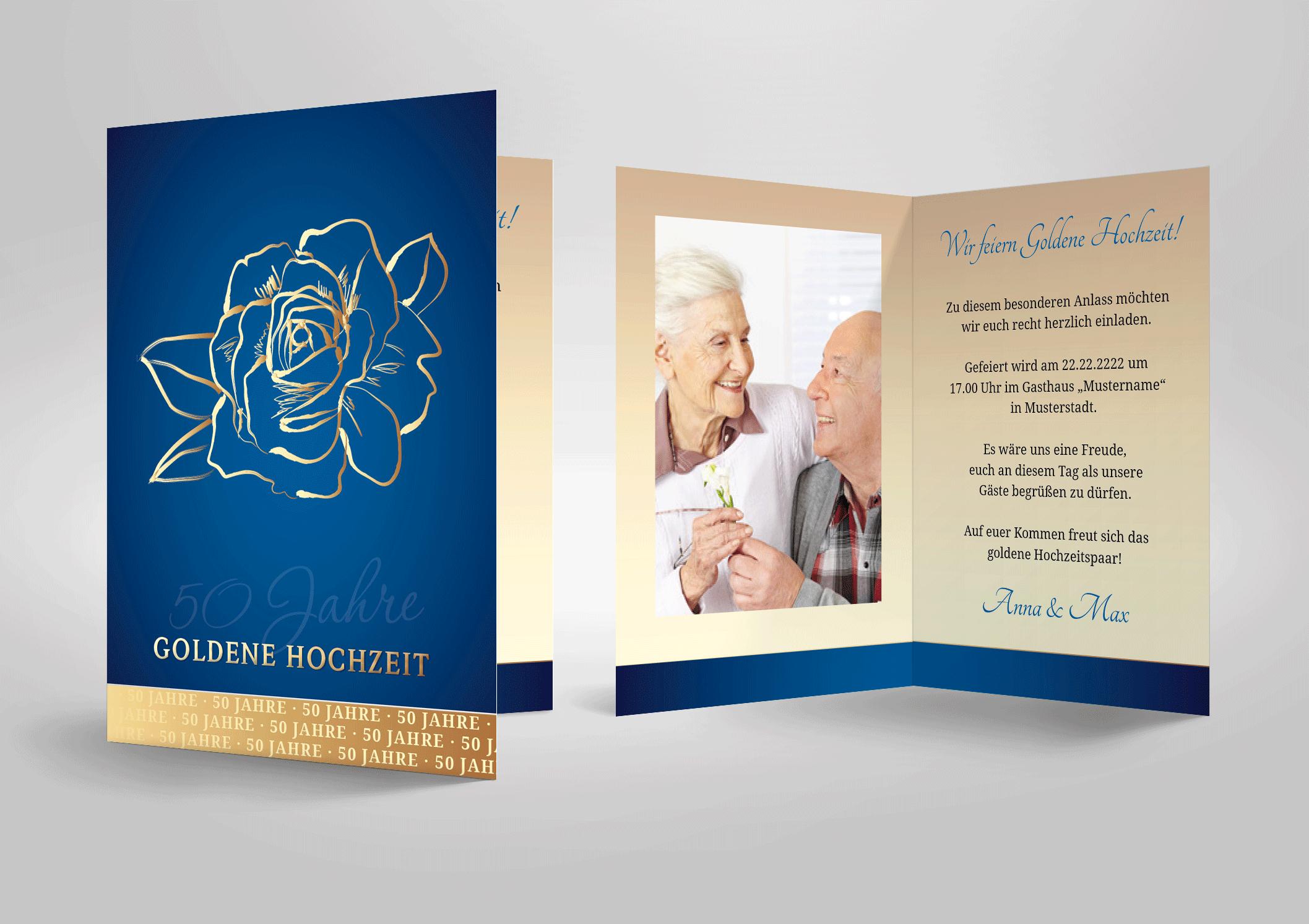Goldene Hochzeit feiern, schöne Einladungskarte günstig