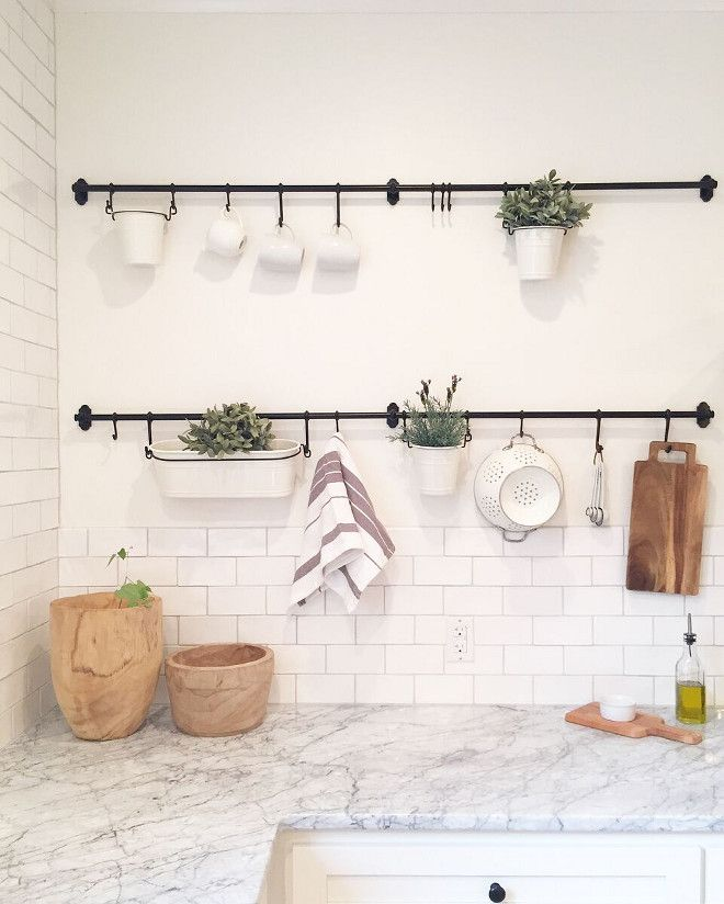 Farmhouse Style Kitchen Wall Hanging Rod Hanging Rods Hooks And