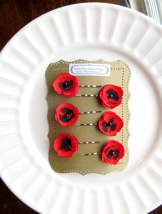 6 Tiny Red Poppy Flower Hairpins for by InspiredGreetingsAD