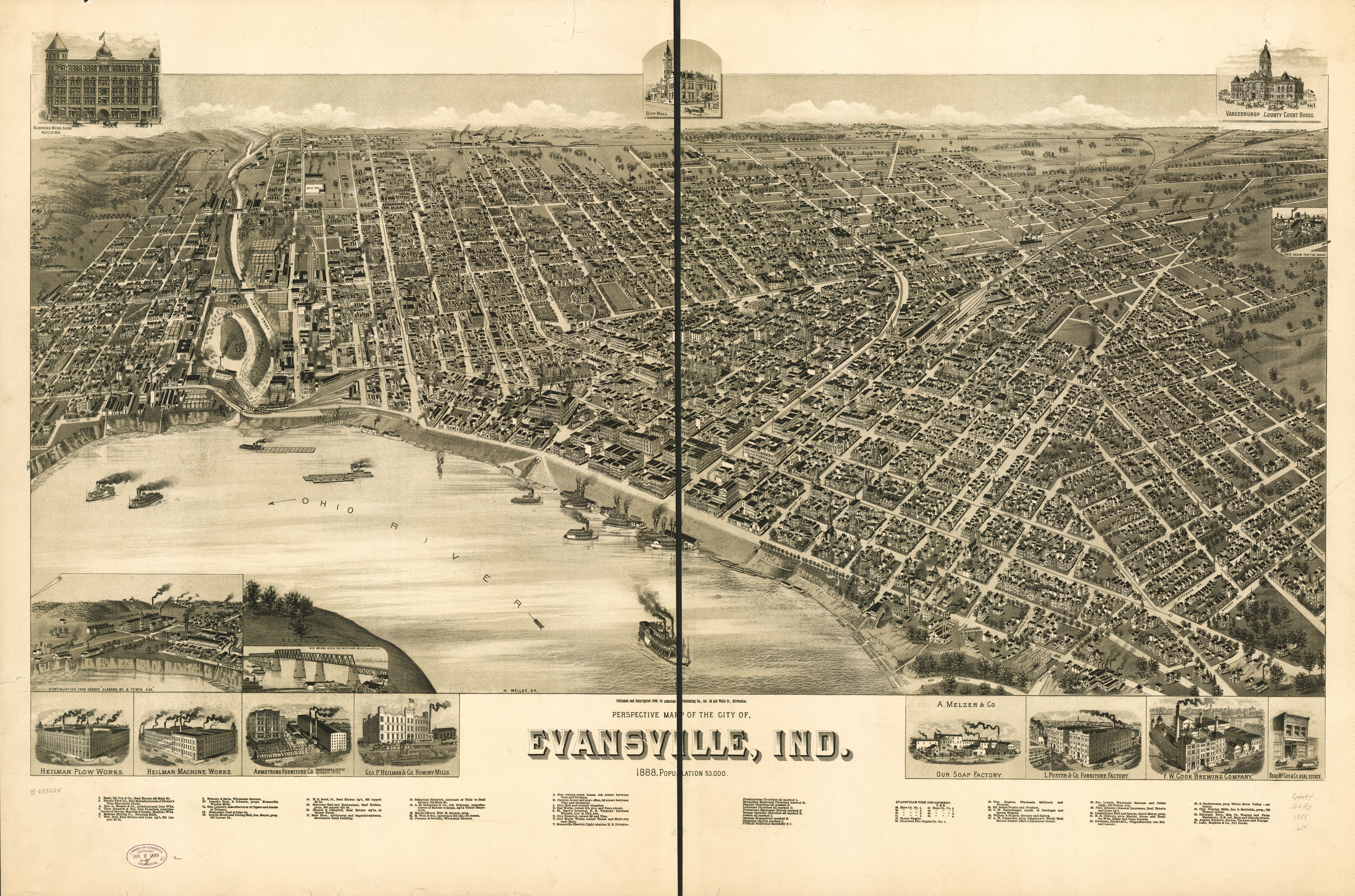 1888 Map Of Evansville Indiana Founded On The North Side Of A Loop In The Ohio River With Images Evansville Evansville Indiana Birds Eye View Map