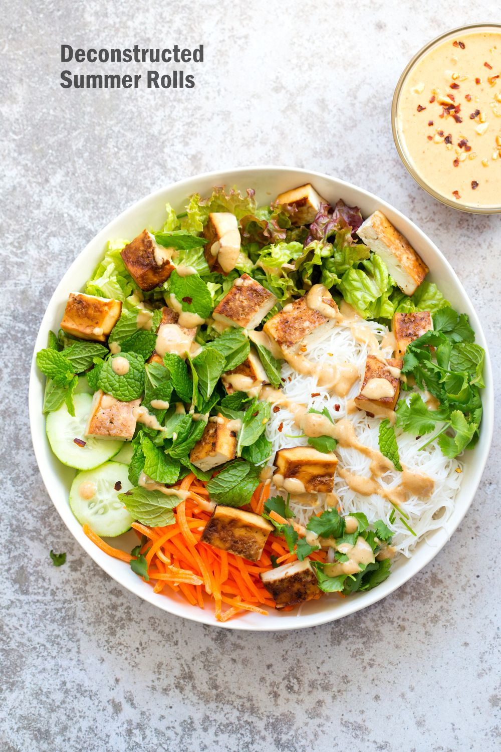Deconstructed Vegan Summer Rolls - Veggies Spring Rolls Crunchy Veggie Vegan Summer Rolls Deconstructed into a Bowl. Served with Peanut Butter Dipping Sauce. Fresh Spring Rolls/ Rice paper rolls in a bowl. Make a bowl, wrap or fill up rice paper wrappers. Use Sunbutter to make |