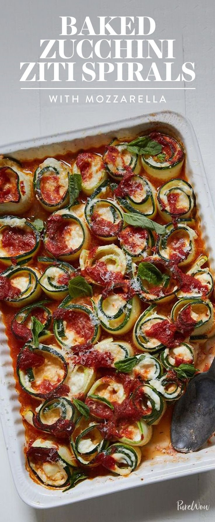 """This lightened-up zucchini baked """"ziti"""" has all the cheesiness but none of the carbs. Total win-win. Make it this week."""