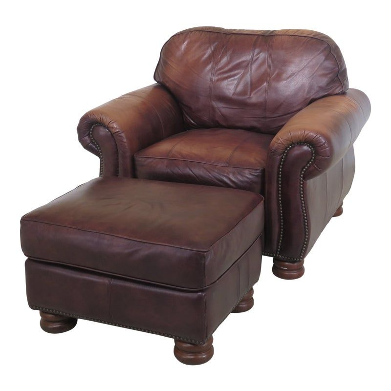1990s Vintage Thomasville Leather Club Chair Matching Ottman Leather Club Chairs Club Chairs Vintage Leather Chairs Leather club chair and ottoman