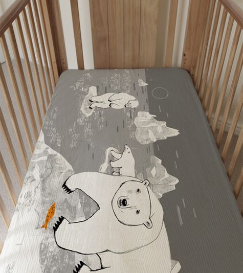 Polar Bear Crib Sheetby Camilla Engman Third Drawer Down