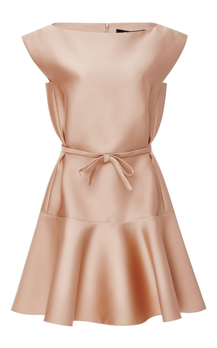 b748ff53201a37 Nude Duchess Satin Fit And Flare Dress by PAULE KA Now Available on Moda  Operandi