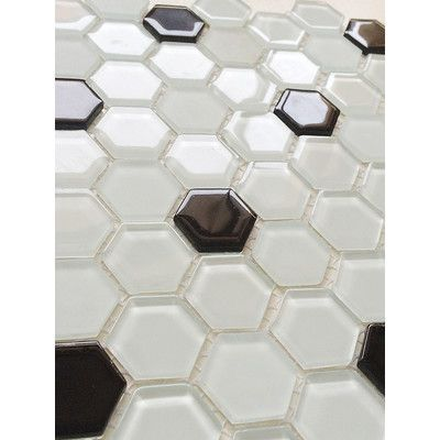 """Upscale Designs by EMA 12"""" x 12"""" Glass Mosaic Tile in White and Black"""