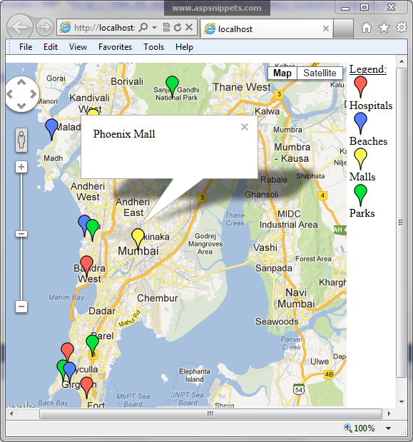 google maps v3 display colored markers for particular type of location
