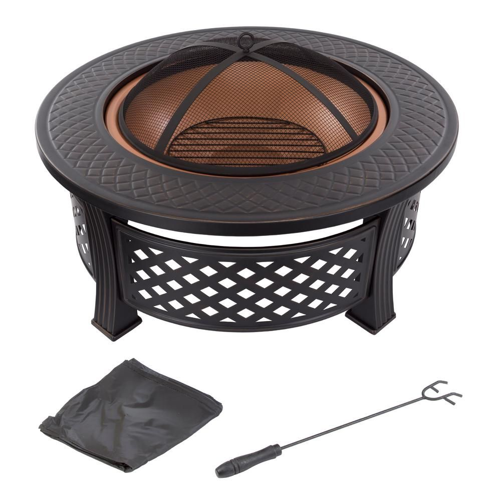 Pure Garden 32 In Steel Round Fire Pit With Spark Screen And Log Poker M150122 Fire Pit Sets Wood Burning Fire Pit Gas Fire Pit Table