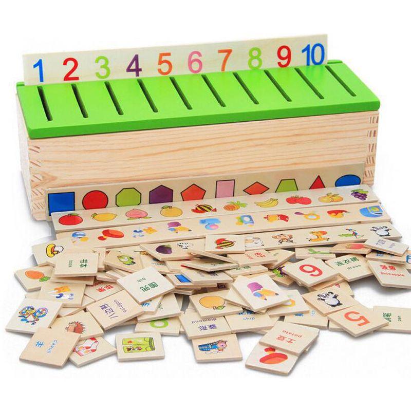 무료 배송 몬테소리 Matematica 지식 분류 상자 몬테소리 재료 알아보기-체커 장난감 나무 상자