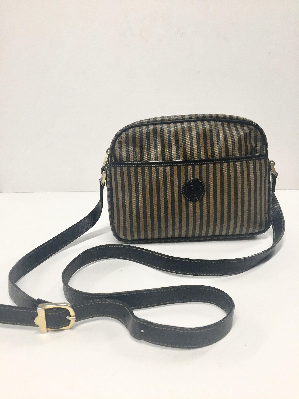Vintage FENDI Roma Crossbody Bag- Brown Striped Designer Handbag ... 1039aa71df305