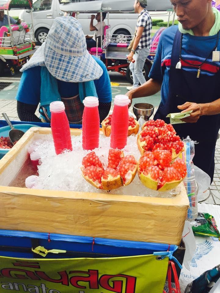 Bangkok street food thai pomegranate juice bangkok