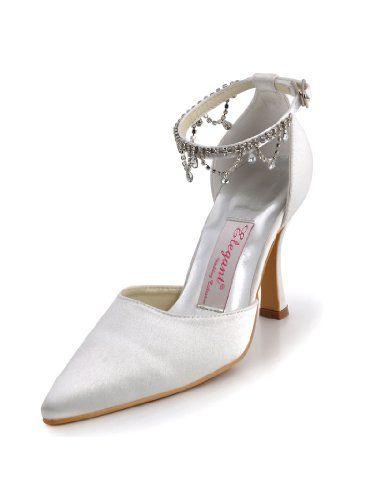 MM-023 White Pointed Toe Rhinestone Strappy Stiletto Heel Satin ... 426b64a92eae