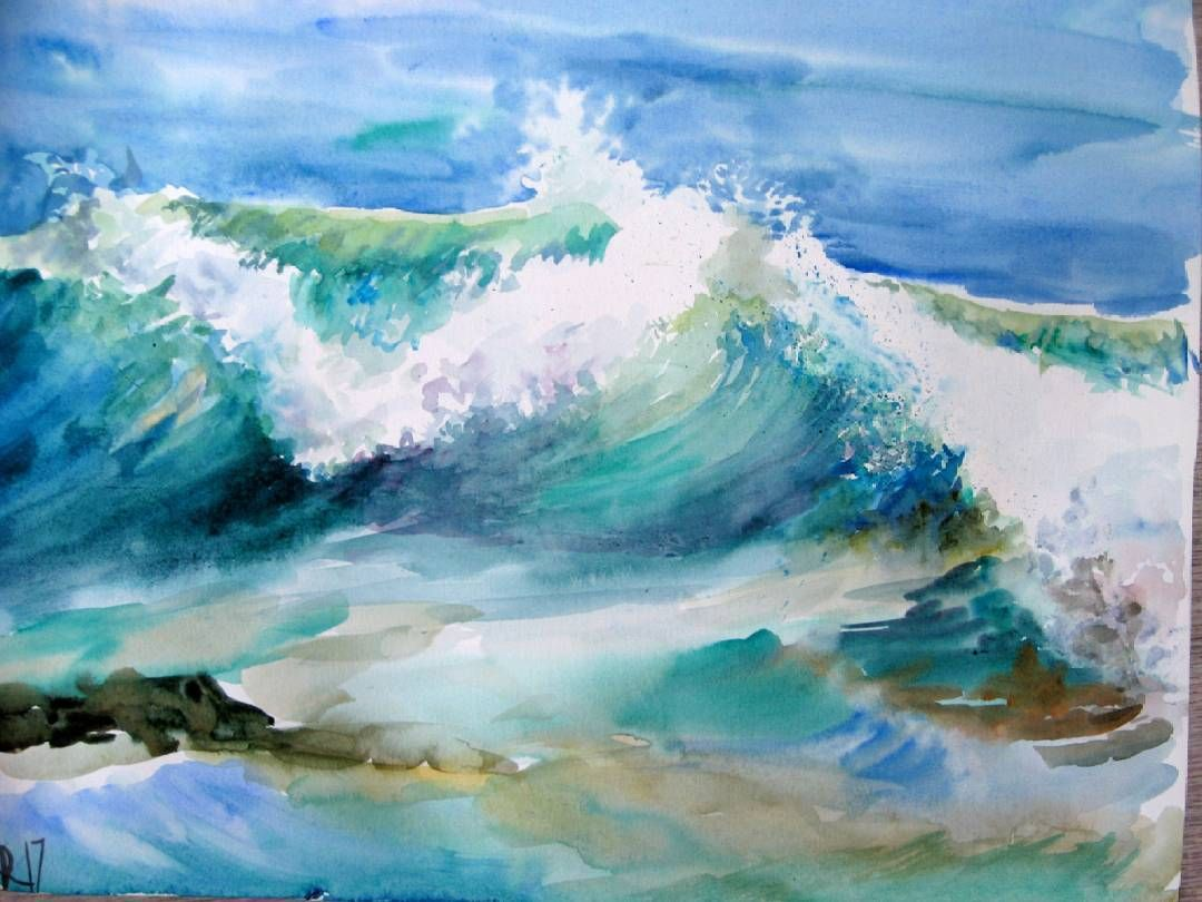 Wave Watercolor Watercolor Wave Seascape Paintings Watercolor