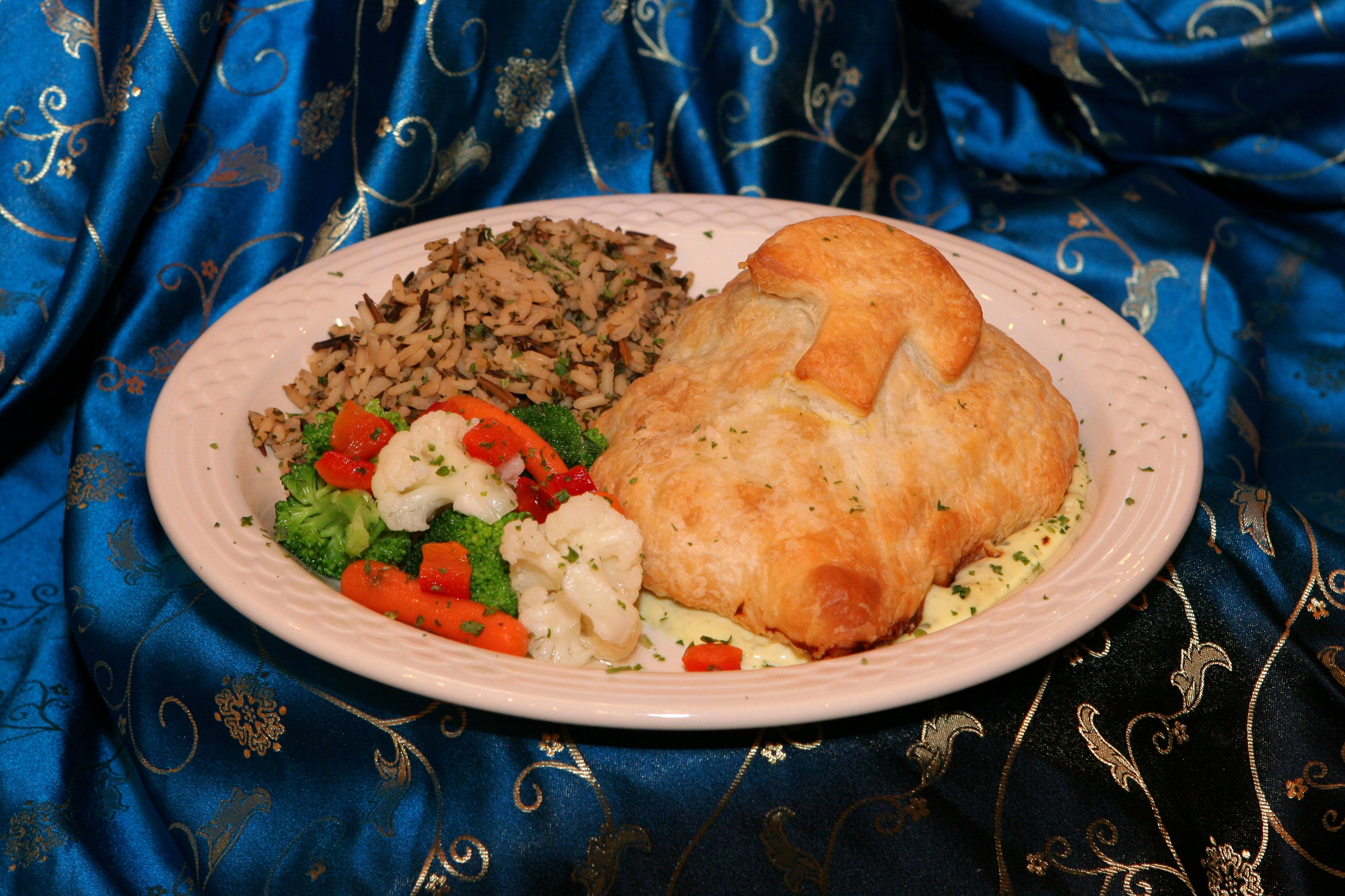 Chicken Wellington - Boneless breast of chicken, mushrooms duxelle wrapped in puff pastry with a veloute sauce #LaurelManor #Cuisine #MichiganWeddings