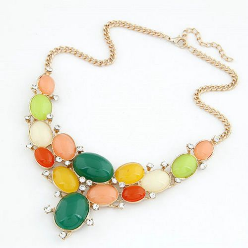 Womens Stylish Jewelry Gold Metal Necklace Colorful Gems Pendant Lovely Chain