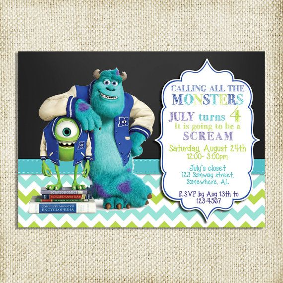 Printable Monster Inc Birthday Invitation By Meamurraydesigns
