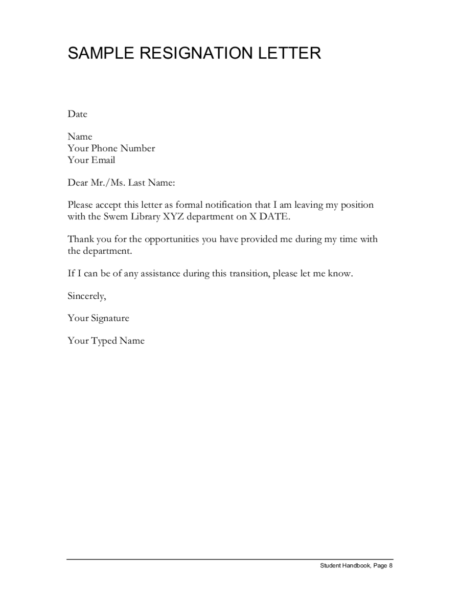sample resignation lettersimple resignation letter