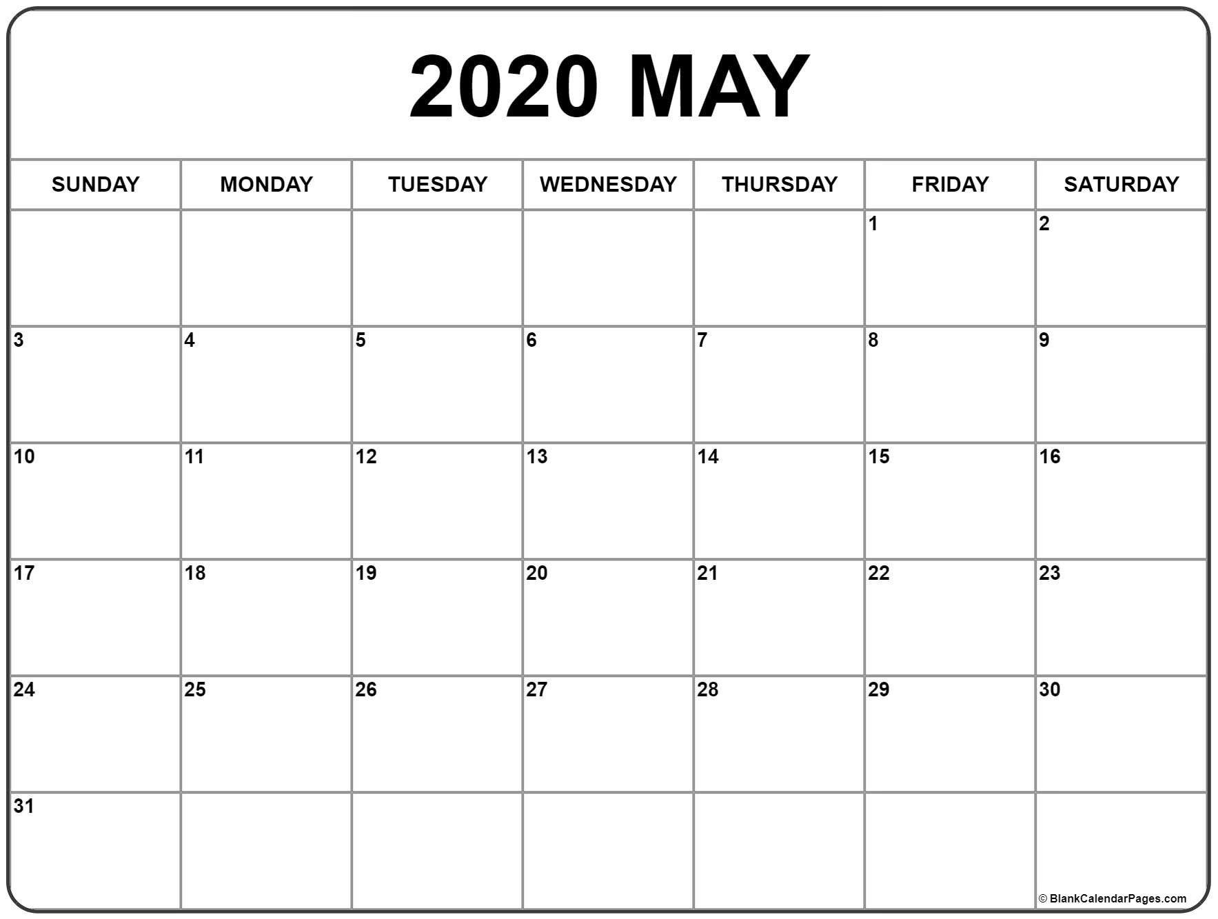 May 2020 Calendar Printable Dengan Gambar