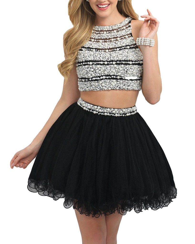 Yunman black halter beaded prom dresses two pieces homecoming gowns