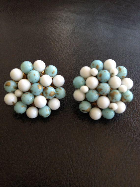 Robin Egg & White Bubble Clip On Earrings by LittleHouseofVintage, $6.00