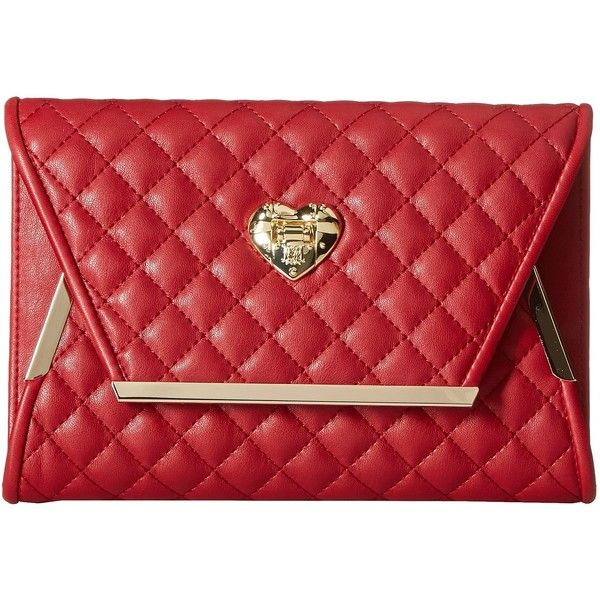 LOVE Moschino Envelope Clutch with Gold Detailing (Red) (£125) ❤ liked on Polyvore featuring bags, handbags, clutches, square purse, vegan leather purses, red handbags, red clutches and love moschino handbags