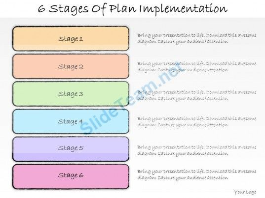 1013 Business Ppt Diagram 6 Stages Of Plan Implementation Powerpoint