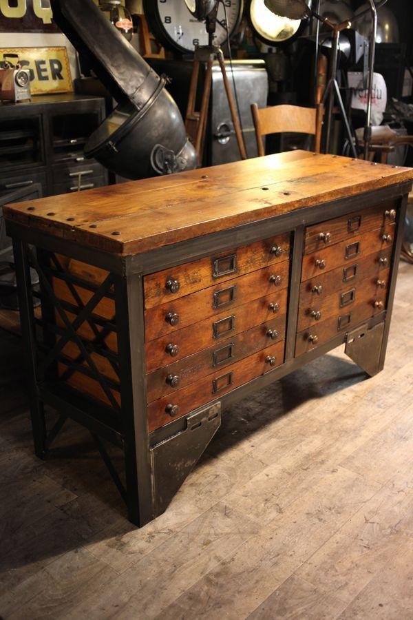 Meuble De Metier Ancien A Voir Sur Http Antiquitesbrocantes Free Fr Page18 19 Html Industrielle Mobel Rustikale Mobel Dekor